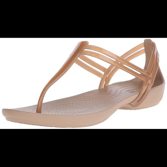 823d3db5e93842 NWOT Crocs Bronze Isabella T-strap rubber sandals